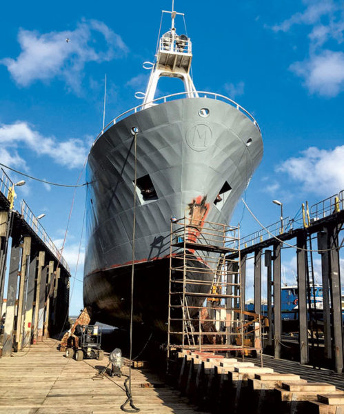 Le chantier de conversion a été mené à Boulogne-sur-Mer, de l'été 2017 au printemps 2018.