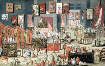 produits emblématiques de la sinomanie: vases, peintures, laques, paravents, mobilier précieux…