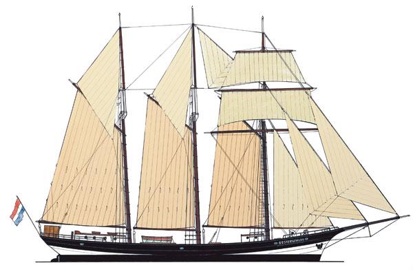 Au terme de sa restauration, en 1992, la coque d'Oosterschelde a retrouvé sa silhouette élégante. elle est à nouveau dotée d'un gréement de goélette à trois mâts, plus élancé que celui de 1917, et doté cette fois d'un hunier fixe et d'un volant.