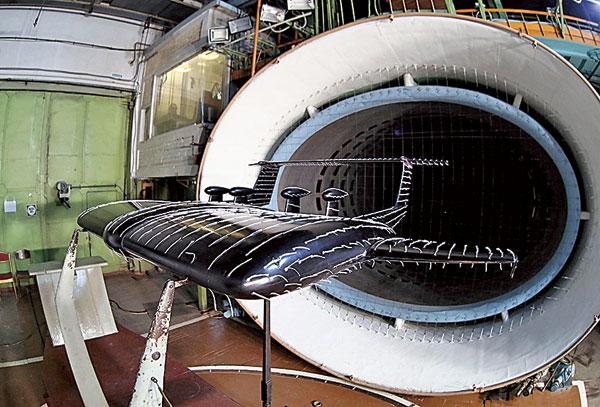 En 2018, à Moscou, test en soufflerie, au Zhukopvsky Central Aerohydrodynamic Institute